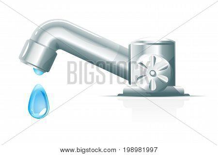 Modern metallic water tap with big blue drop, ecology saving concept isolated