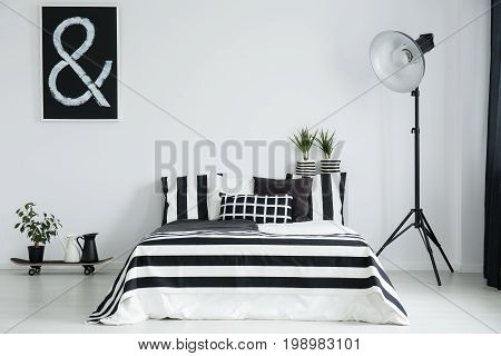 Big Lamp Near To King-size Bed