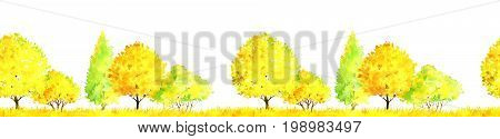 seamless pattern, watercolor autumn landscape with deciduous trees, bushes and grass, abstract nature background, forest border template, hand drawn illustration