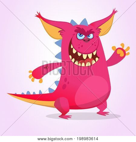 Cute cartoon pink dragon troll. Vector illustration