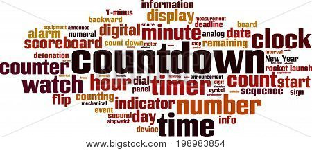 Countdown word cloud concept. Vector illustration on white