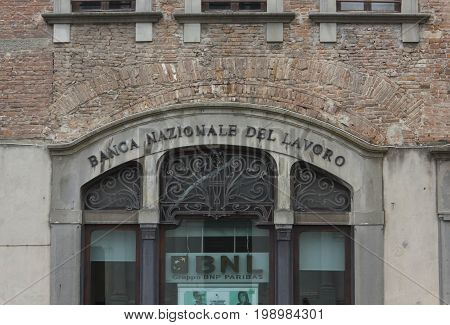 LUCCA, ITALY - AUGUST 15 2015: Architectural close up the historic building headquarters of Banca Nazionale del Lavoro in Lucca city Italy