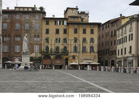 LUCCA, ITALY - AUGUST 15 2015: Day view of Saint Michael square in Lucca Italy
