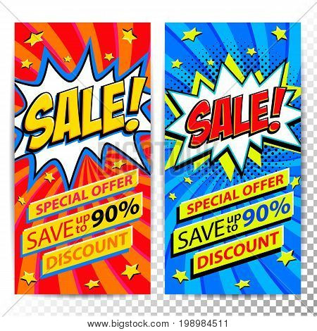 Sale web banners. Set of Pop art comic sale discount promotion banners. Big sale background. Decorative backgrounds with bomb explosive. Comics pop-art style bang shape on red and blue twisted background. Ideal for web banners. Vector illustration.