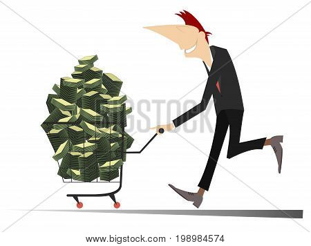 Successful business. Successful businessman is pushing a trolley full of money isolated