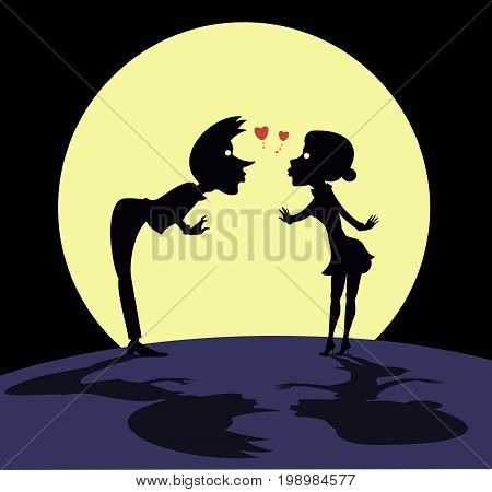 Love couple rendezvous under the moon. Man and woman falling in love and meeting under the moon