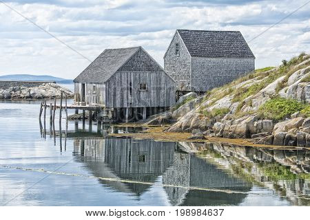Lovely old fishing huts at Peggy's Cove Nova Scotia Canada.