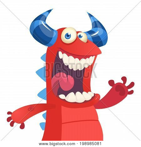 Cartoon portrait of yelling red monster dragon. Halloween vector illustration of red horned monster isolated waving