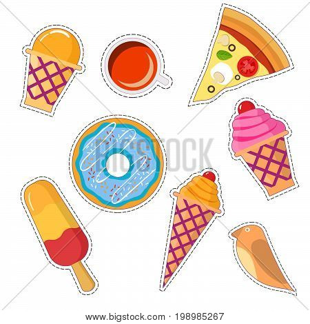 Stickers set of  food patch in pop art style in 80s-90s.Vector badges and pins cartoon with a wafer cup of ice cream, horn with ice cream, an eskimo, a birdie, a cup of coffee and tea, pizza, a donut.
