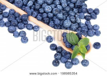 A pile of sweet blueberries and green mint leaves in a wooden spoon, isolated on a white background. A lot of healthful berries near the spoon with nutritious bilberries. Copy space.