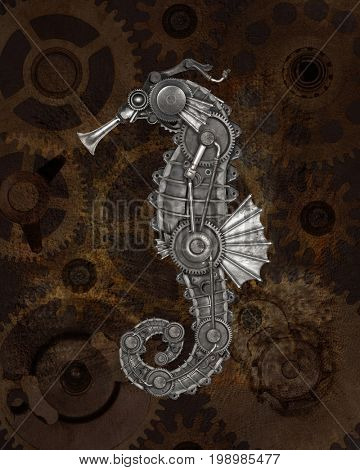 Steampunk style seahorse (Hippocampus). Mechanical animal photo compilation