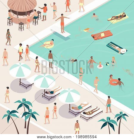 Summer pool party and people gathering they are swimming sunbathing having drinks at the bar and relaxing at the resort vacations and leisure concept