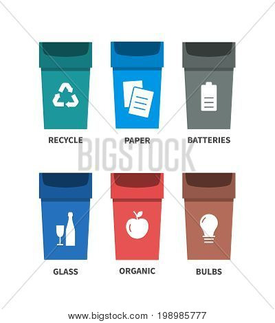 Trash types segregation recycling concept. Flat vector icons
