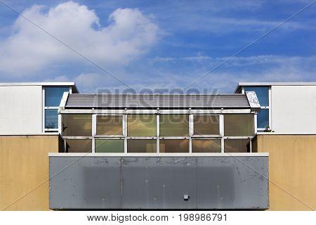 Building with balcony built in the seventies in Capelle aan den Ijssel in the Netherlands