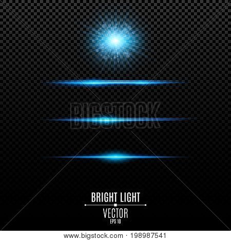 Set. Abstract glare and flashes isolated on a transparent background. Bright radiant star. Blue soft neon lines and lights. Vector illustration