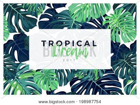 Summer tropical design with green monstera palm leaves. Vector illustration.