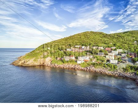 Small, Wooden Houses In Hilly Petty Harbour, Newfoundland, Canada