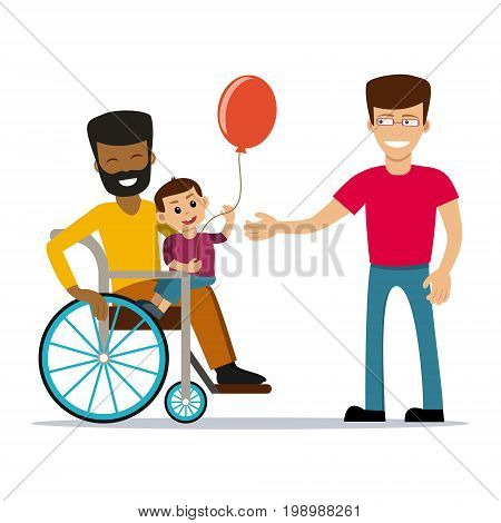 Male gay couple with kid. Same-sex family. Happy homosexual spouses holding a baby. Vector art isolated on art. Cartoon design.