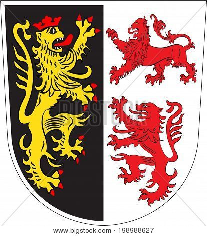 Coat of arms of Neumarkt is a district in Upper Palatinate of Germany. Vector illustration from the