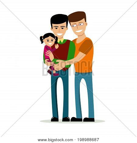 Male gay couple with kids. Same-sex family. Happy homosexual spouses holding a baby. Vector art isolated on art. Cartoon design.