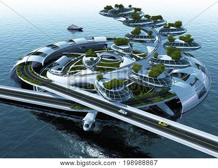 Architecture on the water.,3d render