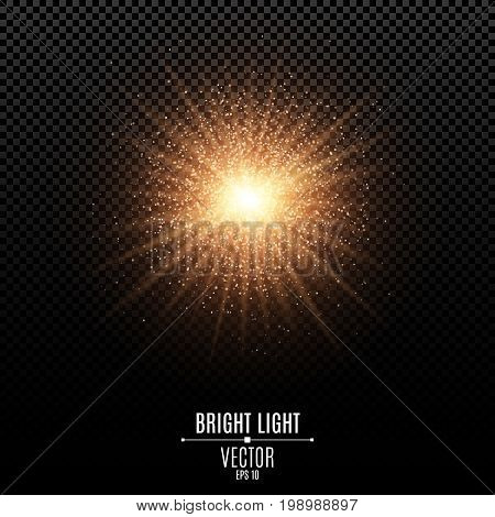 Bright star of a golden color. Orange flash of light. Abstract golden lights and rays of light. Magical golden dust. Glare bokeh. Vector illustration