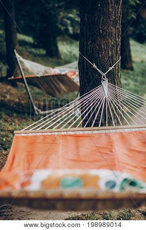 Comfortable Orange Hammock Hanging Outdoors In A Park, Boho Hammock Tied To Trees, Camping Concept