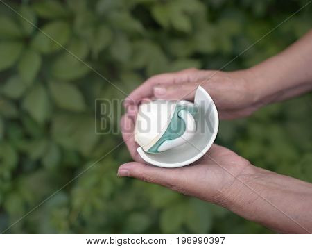 Broken tea cup in female hands shallow depth of field photo green foliage in the background