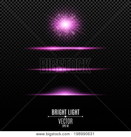 Set. Abstract glare and flashes isolated on a transparent background. Purple bright radiant star. Purple backlight and soft light. Violet soft neon lines and lights. Vector illustration