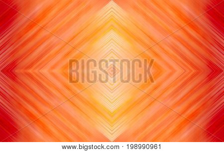 Rhombus bright red and yellow. Abstract technology background for wallpaper, templates, layouts, web pages. Kaleidoscope symmetric effect with strips and geometric shapes