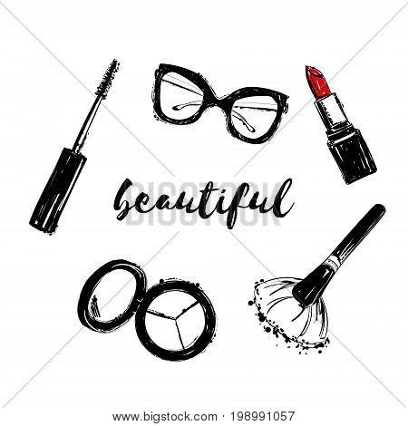 Vector Fashion Black And White Sketch. Hand Drawn Set Of Makeup Brush, Eyeshadow, Mascara, Lipstick,