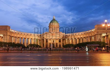 St. Petersburg RUSSIA MAY 23 2017: Night scene of Kazan (Kazanskiy) Cathedral in Saint-Petersburg. Russia. Located on Nevsky Prospekt in the center of the city.
