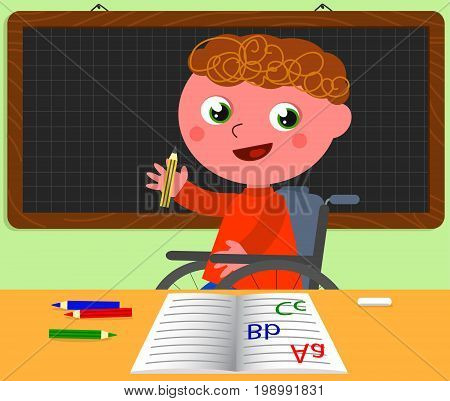 Happy kid in wheelchair in classroom at school, cartoon vector