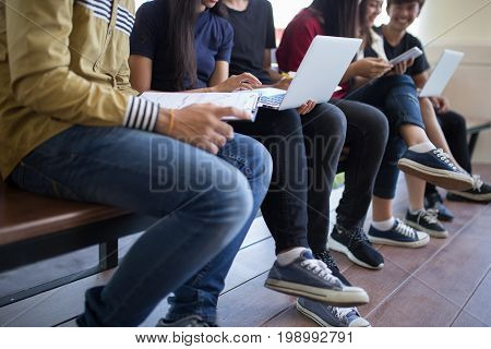 Back to school education knowledge college university concept, Students Education Social Media Laptop Tablet