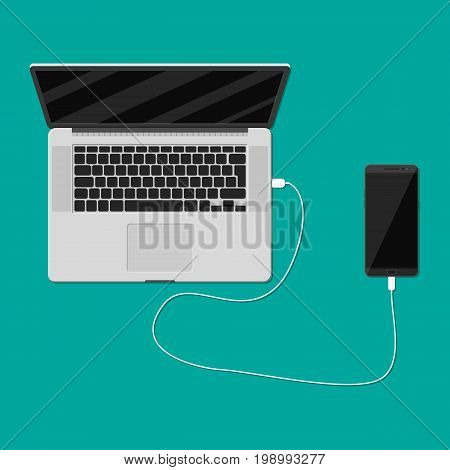 Mobile phone plugged and charging from laptop usb port. Vector illustration in flat style