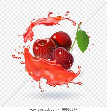 Cherry juice Realistic fresh berry fruit splash of juice.