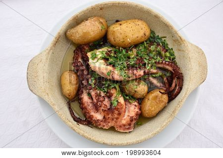 Grilled Octopus With Batatas A Murro. Portugal