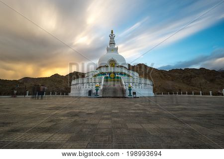 Shanti Stupa is a Buddhist white-domed stupa (chorten) on a hilltop in Chanspa, Leh district, Ladakh, in the north Indian state of Jammu and Kashmir.