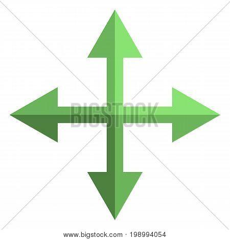 Vector Icon - Four Way Arrows. Cross Of Arrows.