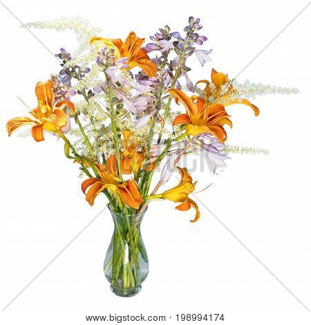 bouquet with orange hemerocallis white  and blue hosta flowers in a small transparent glass vase isolated on white background
