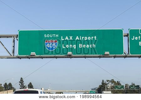 LAX Airport and Long Beach overhead freeway sign on Interstate 405 in Los Angeles, California.