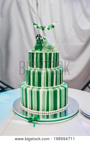 Beautiful big three leveled wedding cake decorated with two birds on the top. Indoor. A green-white striped wedding cake with three levels.