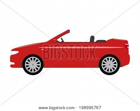 Vector illustration of a cartoon red car cabriolet. Isolated white background. Flat style. Auto convertible side view.