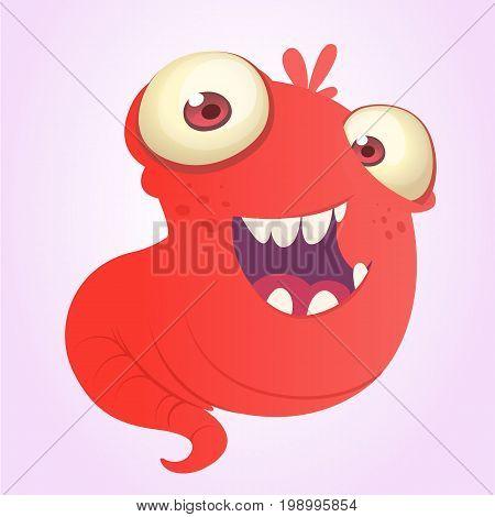 Funnny cartoon blob slimy monster laughing. Vector alien illustration