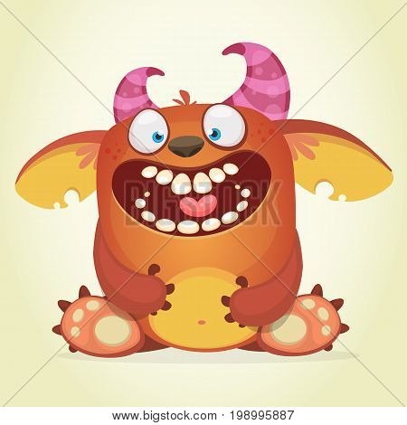 Happy cartoon fluffy monster. Vector character of troll or gremlin