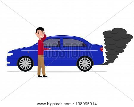 Vector illustration of a cartoon man standing next to the car. Auto with black smoke from the exhaust pipe. Isolated white background. Flat style.