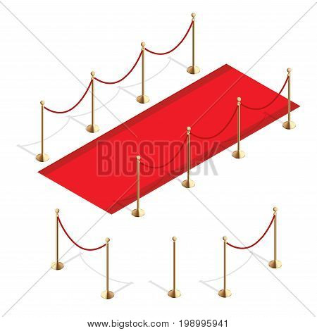 Isometric red event carpet and Barrier rope isolated on a white background.