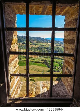 Countryside view from the window of the Fortress of San Leo Italy