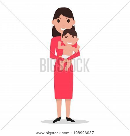 Vector illustration of a cartoon female mom holding a baby son in his arms. Isolated white background. Mother day concept. Flat style. Woman with a infant. Mother alone with a child.