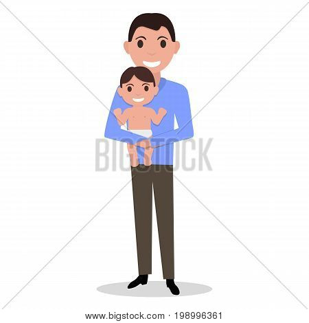 Vector illustration of a cartoon male dad holding a baby son in his arms. Isolated white background. Father day concept. Flat style. Man with a infant. Father alone with a child.